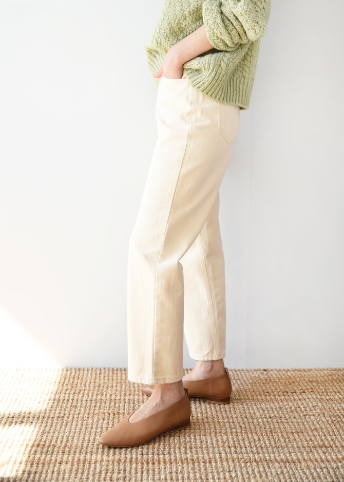 Cream Cropped Jeans