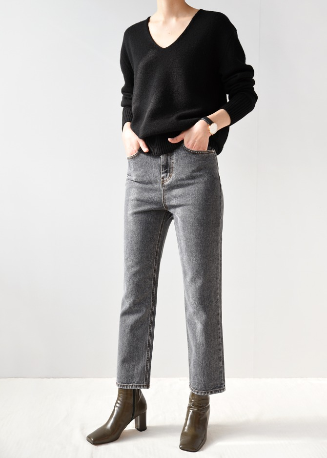 Grey Washed Crop Jeans