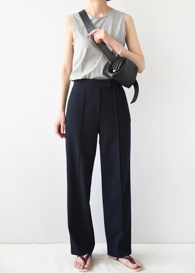 Pintuck Straight Trousers